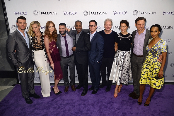 ((L-R) Scott Foley, Portia de Rossi, Darby Stanchfield, Guillermo Diaz, Joe Morton, Joshua Malina, Jeff Perry, Bellamy Young, Tony Goldwyn and Kerry Washington