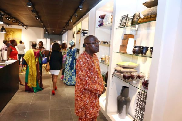 Guests viewing the design display