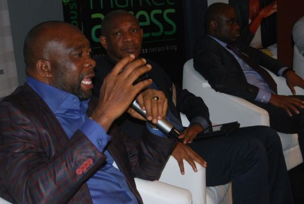 Head, Regional Sales, South-South, Etisalat Nigeria, Enekwachi Aja; CEO, Wider Perspectives Limited, Kalada Apiafi; and General Manager, Divisional Head SME's, Fidelity Bank, Ken Okpara during a panel discussion on the enhancement of SME Growth at the 12th edition of Etisalat-Sponsored Market Access which held at The Dome Hall, Port Harcourt