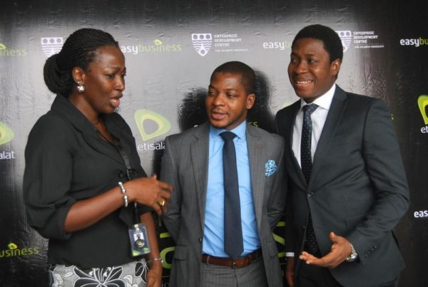 Regional Manager, Enterprise Sales, South-South/South-East, Etisalat Nigeria, Mrs. Nneka Owolabi; General Manager, Enterprise Development Centre, Pan-Atlantic University Olawale Anifowose; and Specialist, SME Segment, Etisalat Nigeria, Olufemi Oguntimehin, at the 12th edition of Etisalat-Sponsored Market Access which held at The Dome Hall, Port Harcourt