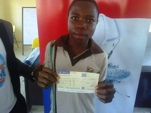 Oyewale Adewale, Olatunde Memorial Nursery and Primary School, Ilesa, 1st Position and winner of 70 thousand naira in the Imagine and Achieve Art Competition in Osun State