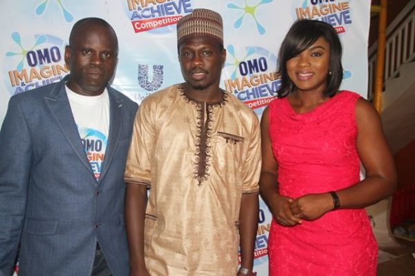 President, Children of Africa, Kunle Alaba; Omo Brand Ambassador, Ali Nuhu and Omo Brand Ambassador, Chioma Akpotha at the Omo Imagine and Achieve Competition grand finale in Lagos
