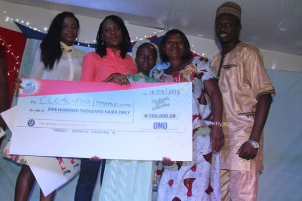 Brand Manager, Omo, Sarah Adoki;  Category Manager Fab Cleaning, Unilever, Ibironke Ugbaja; Ugbaja second position and winner of 500 thousand naira, from Mafah Education Centre, Benin, Clementina Emmanuel; Mrs. Emmanuel (Mother) and Omo Brand Ambassador,  Ali Nuhu at the Omo Imagine and Achieve Competition grand finale in Lagos