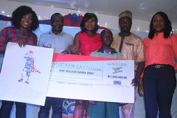 Omo Brand Ambassador Funke Akindele; Brand Building Director, Unilever Nigeria, David Okeme; Omo Brand Ambassador Chioma Akpotha; winner of 1 million naira, from Army Children School, Abule Egba, Lagos, Imurang Salisu; Omo Brand Ambassador  Ali Nuhu and Category Manager Fab Cleaning, Unilever, Ibironke Ugbaja at the Omo Imagine and Achieve Competition grand finale in Lagos.