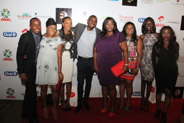 Folarin Ojo, Brand Manager for Oral B (1st left); P&G's Commercial & Brand Operations Director, Enekabor Ehinomen (4th Right); Media Manager, P&G Nigeria, Adigolo Funmilola (1st Right)