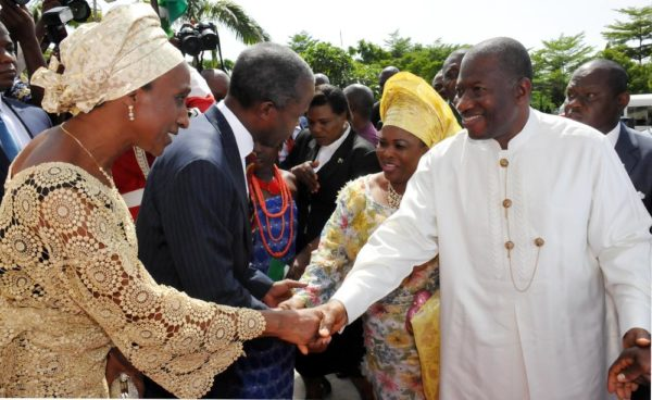 PIC 19.  VICE-PRESIDENT-ELECT, PROF.  YEMI OSIBANJO (2ND L) AND HIS WIFE, MRS DOLAPO  RECEIVING PRESIDENT GOODLUCK  JONATHAN (R) AND THE FIRST LADY, DAME PATIENCE JONATHAN  TO THE 2015 PRESIDENTIAL THANKSGIVING AND INAUGURATION INTERDENOMINATIONAL CHURCH SERVICE AT THE NATIONAL CHRISTIAN CENTRE ABUJA ON SUNDAY (24/5/15). 2741/24/5/2015/ice/NAN