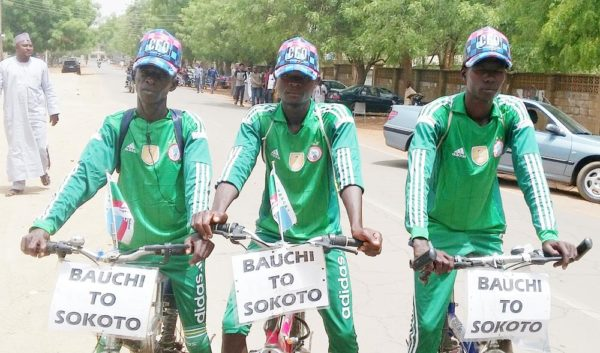 PIC. 1. FROM LEFT: BICYCLE RIDERS SOMALIA MOHAMMED, NASIRU YAU AND NUHU IBRAHIM, WHO RODE FROM BAUCHI TO SOKOTO IN 9 DAYS TO CONGRATULATE THE GOVERNOR-ELECT, SPEAKER AMINU TAMBUWAL IN SOKOTO ON MONDAY (18/5/15). 2634/18/5/2015/AAG/BJO/NAN