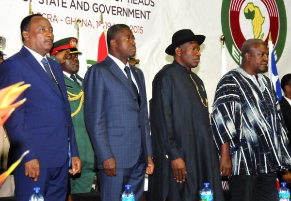 PIC. 21. FROM LEFT: PRESIDENT MAHAMADOU ISSOUFOU OF NIGER; PRESIDENT FAURE GNASSINGBE OF TOGO; PRESIDENT GOODLUCK JONATHAN OF NIGERIA AND PRESIDENT JOHN MAHAMA OF GHANA, AT THE 47TH ORDINARY SESSION OF THE ECOWAS AUTHORITY OF HEADS OF STATE AND GOVERNMENT IN ACCRA, GHANA ON TUESDAY (19/5/15). 2673/18/5/2015/ICE/OTU/BJO/NAN