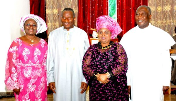 PIC 5. FROM LEFT: WIFE OF THE CHAPLAIN, ASO VILLA CHAPEL, MRS MARTHA ONWUZURUMBA;  PRESIDENT GOODLUCK JONATHAN;  FIRST LADY, DAME PATIENCE JONATHAN AND CHAPLAIN, VEN OBIOMA ONWUZURUMBA AT A  SPECIAL THANKSGIVING CHURCH SERVICE  FOR THE FIRST FAMILY AT THE ASO VILLA CHAPEL, ABUJA ON SUNDAY (17/5/15) 2628/17/5/2015/ICE/HF/NAN