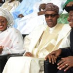 PIC.4.FROM LEFT: VICE PRESIDENT  YEMI  OSINBAJO; FIRST LADY, HAJIA AISHA BUHARI; PRESIDENT MUHAMMADU BUHARI AND FORMER PRESIDENT GOODLUCK JONATHAN, DURING THE INAUGURATION OF PRESIDENT BUHARI IN ABUJA ON FRIDAY (29/5/15). 2817/29/5/2015/ISE/CH/NAN