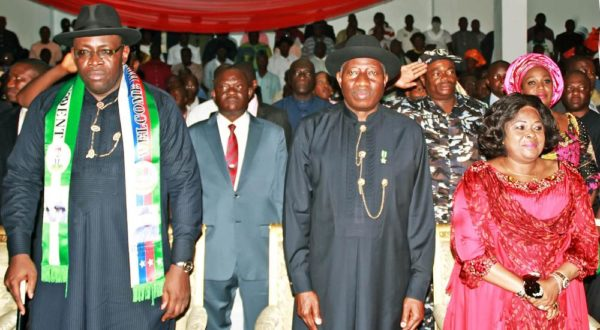 PIC.4. FORMER PRESIDENT GOODLUCK JONATHAN (2ND R), HIS WIFE PATIENCE AND  GOV. SERIAKE DICKSON OF BAYELSA, AT A RECEIPTION IN HONOUR OF FORMER  PRESIDENT JONATHAN BY THE OTUOKE COMMUNITY IN YENAGOA ON FRIDAY.  2841/30/5/2015/AO/CH/NAN