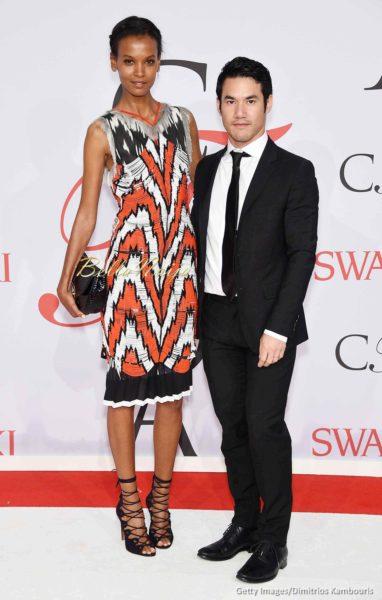 Liya Kebede (L) and designer Joseph Altuzarra
