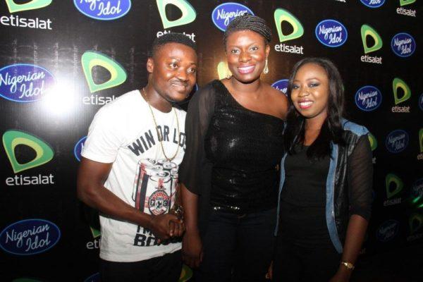 K-Peace, Orah Egwu (Manager, Sponsorships, Etisalat Nigeria) & Dolu.