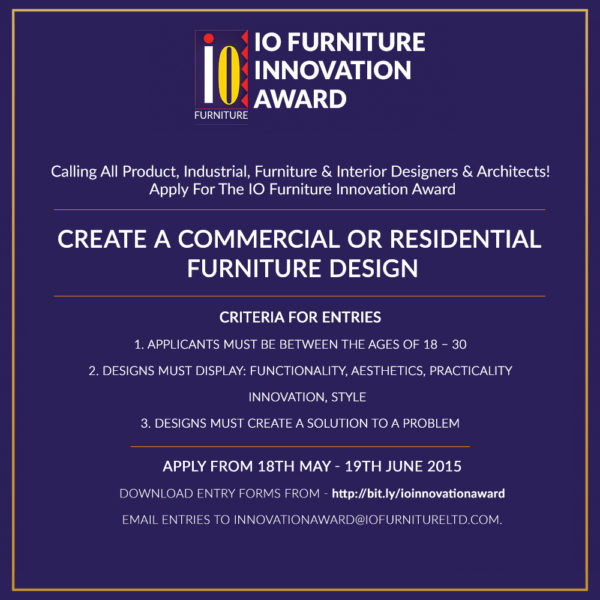 Only 2 weeks left to apply for the io furniture innovation for Innovation in product and industrial design