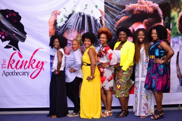 [L-R] Nibi Lawson (The Kinky Apothecary), Felicia Leatherwood (Celebrity Hair Stylist), Cassidy Blackwell (Natural Selection Blog), Wunmi Akinlagun (Woman In The Jungle), Ngozi Opara (Heat Free Hair) & Obia Ewah (Obia Natural Haircare)