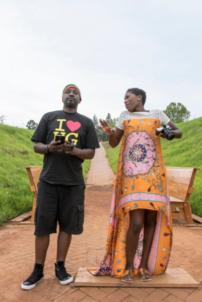 Vimbai & Gaetano at Nelson Mandela capture site in her Toju Foyeh high low dress