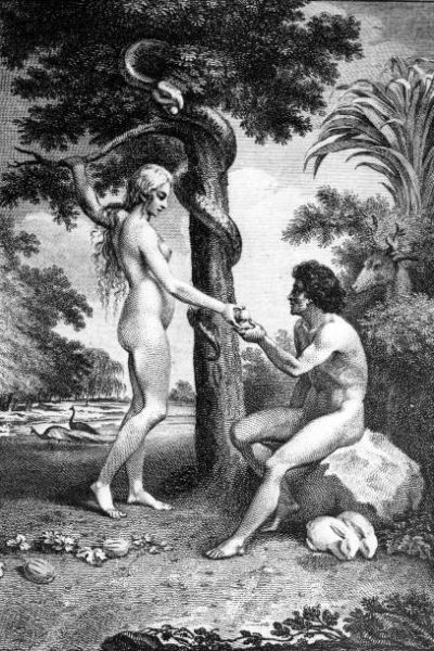 Classic Collection, Page 118, 10418653, A Biblical illustration showing Eve tempting Adam with the apple in the Garden of Eden  (Photo by Popperfoto/Getty Images)