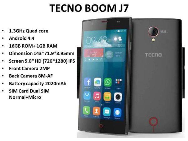 tecno boom J7 specs