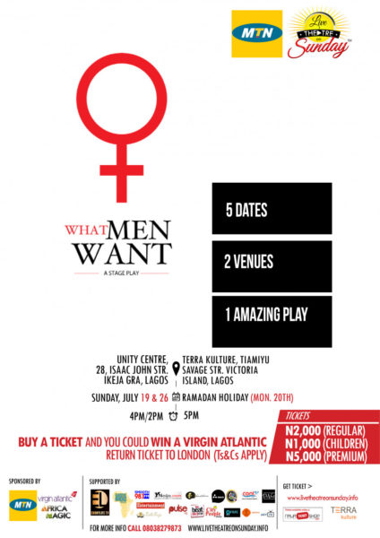 MTN LIVE THEATRE ON SUNDAY ADELARIN AWOTEDU'S WHAT MEN WANT POSTER