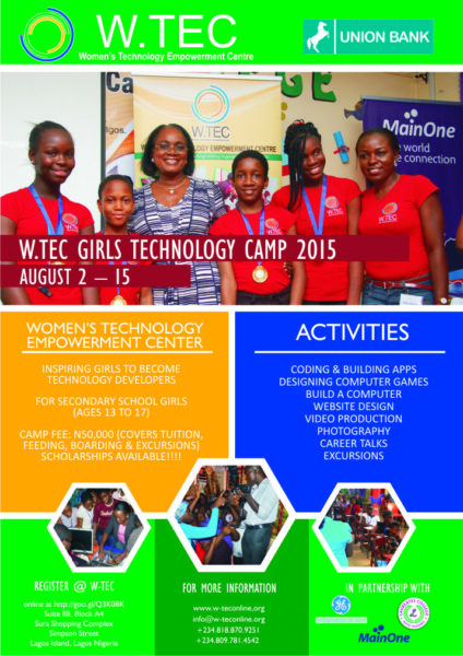 WTec Girls Technology Camp Flier 2015