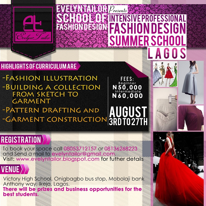 Evelyntailor School Of Fashion Design Is Organizing Its Maiden Professional