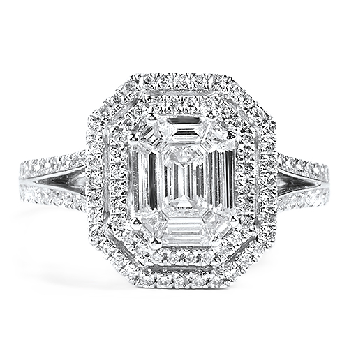 Double Halo Emerald Cut