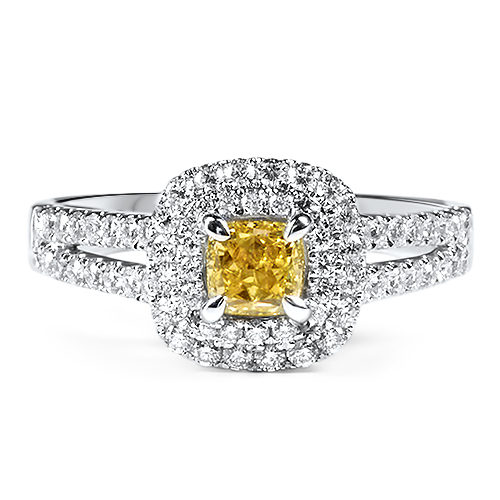 Double Halo Yellow Diamond