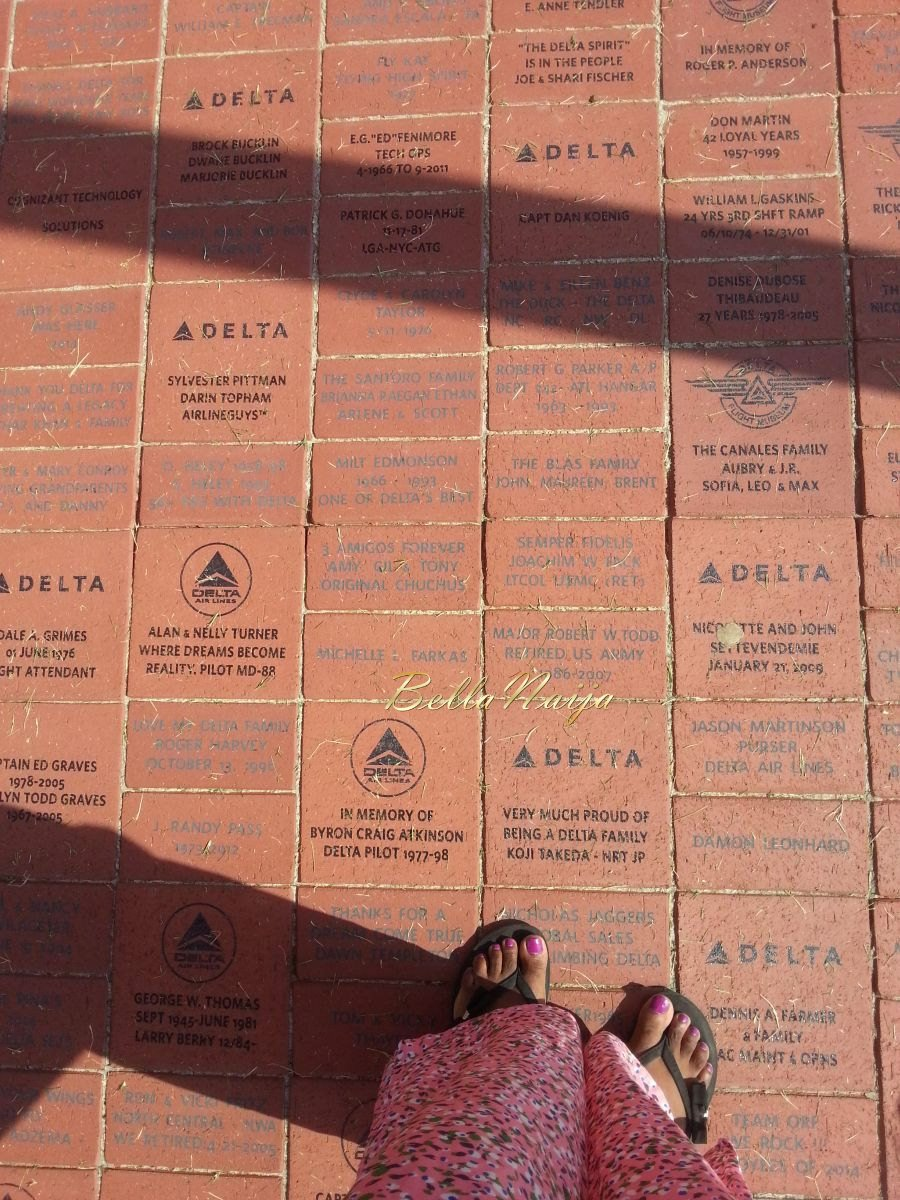 Engraved bricks bought by Delta employees, retirees, and loyal partners and customer