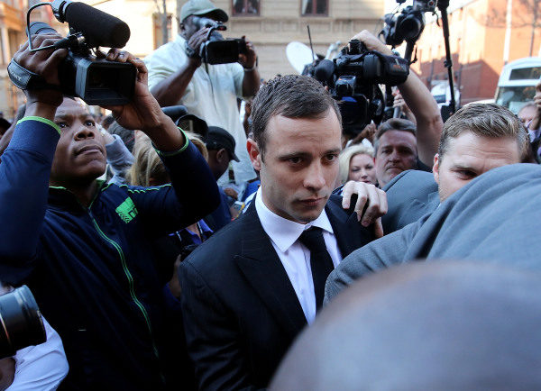Oscar Pistorius arrives at court on September 11, 2014 in Pretoria, South Africa. South African Judge Thokosile Masipa is due to give her verdict at the murder trial of Olympic double-amputee sprinter Oscar Pistorius today. (Photo by Christopher Furlong/Getty Images)