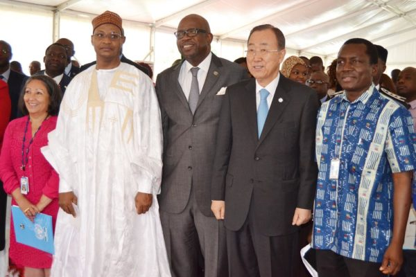 PIC. 4. UNICEF COUNTRY REPRESENTATIVE IN NIGERIA, DR SUOMI SAKAI; DEPUTY PERMANENT REPRESENTATIVE OF NIGERIA TO THE UNITED NATIONS, AMB. USMAN SARKI; SECRETARY-GENERAL OF THE UNITED NATIONS, MR BAN KIMOON; RESIDENT COORDINATOR OF UNITED NATIONS IN NIGERIA, MR DAOUDA TOURE AND PRESIDENT, FEDERATION OF UNITED NATIONS STAFF ASSOCIATION OF NIGERIA, DR NOMA OWENS-IBIE, DURING THE VISIT OF THE SECRETARY-GENERAL TO ADDRESS STAFF AT THE BOMBED UNITED NATIONS BUILDING IN ABUJA ON TUESDAY (24/8/15). 6136/24/8/2015/BJO/NAN
