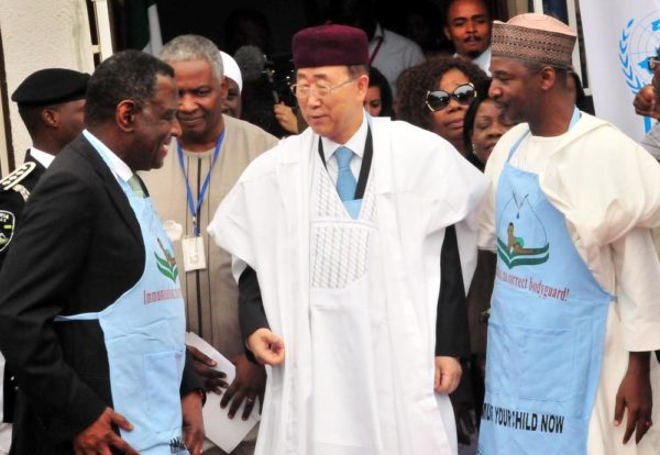 PIC. 7. FROM LEFT: EXECUTIVE DIRECTOR, UNITED NATIONS POPULATION FUND FOR POPULATION ACTIVITIES, PROF. BABATUNDE OSOTIMEHIN; SECRETARY-GENERAL OF UNITED NATIONS, MR BAN KI-MOON AND EXECUTIVE DIRECTOR, NATIONAL PRIMARY HEALTH CARE DEVELOPMENT AGENCY, DR ADO MUHAMMAD, DURING THE VISIT OF THE SECRETARY-GENERAL TO NATIONAL PRIMARY HEALTH CARE DEVELOPMENT AGENCY IN ABUJA ON MONDAY (24/8/15). 6139/24/8/2015/JAU/BJO/NAN
