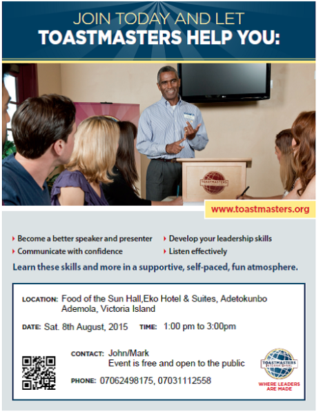 Seaside Toastmasters Flier 8th August 2015