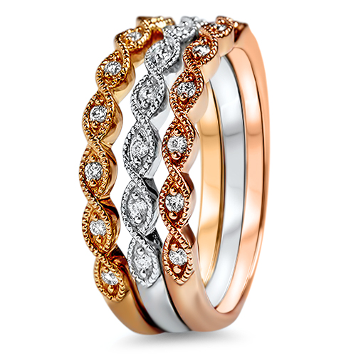 Tri-Color Wedding Bands