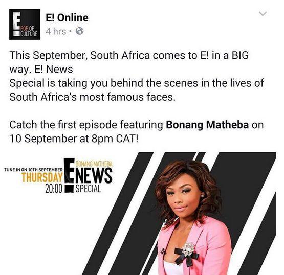 Bonang Matheba E! News Special - BellaNaija - August 2015