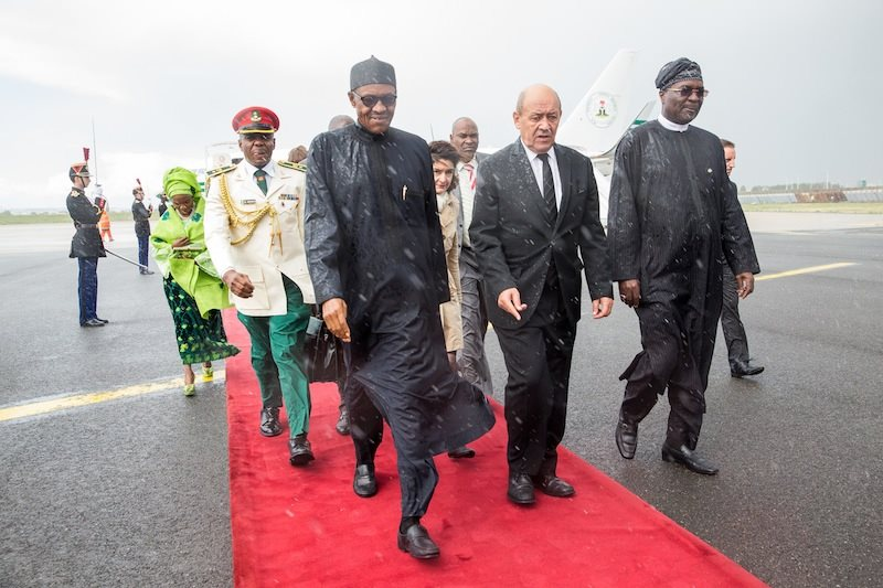 President Muhammadu Buhari, H.E. Mr. Thierry Leleu, Governor of Val de Marne Province and Amb. of Nigeria to France Amb. Hakeem Olawale Sulaiman