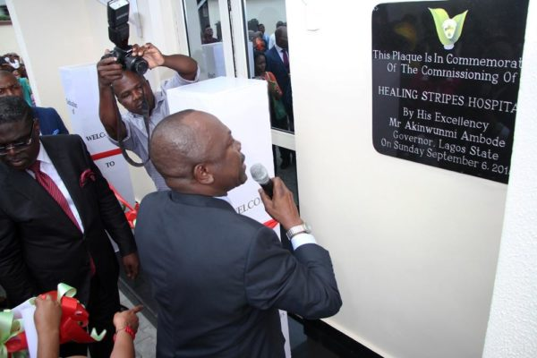 Dr Alonge formally opening the new wing of the Hospital