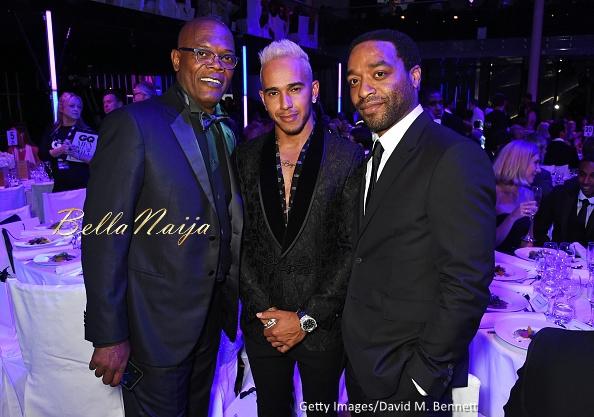 Samuel L. Jackson, Lewis Hamilton & Chiwetel Ejiofor