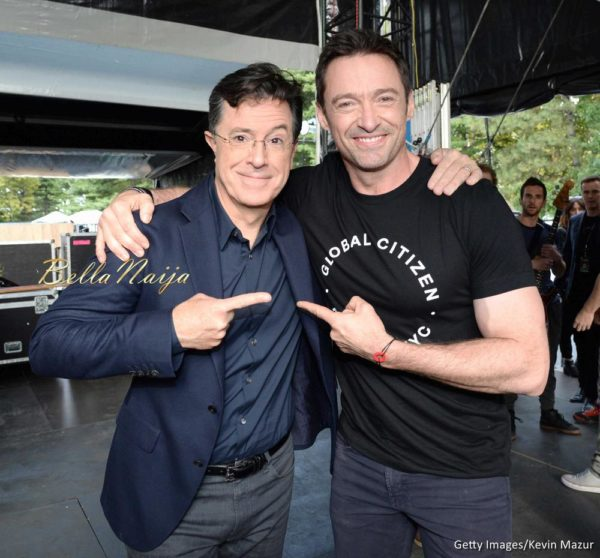 Stephen Colbert and Hugh Jackman