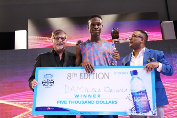 MD, 7UP Bottling Company, Sunil Sahwney, Winner of Aquafina Elite Model Male,Damilola Okunola, and Head of Marketing, 7up Bottling Company, Norden Thurston.
