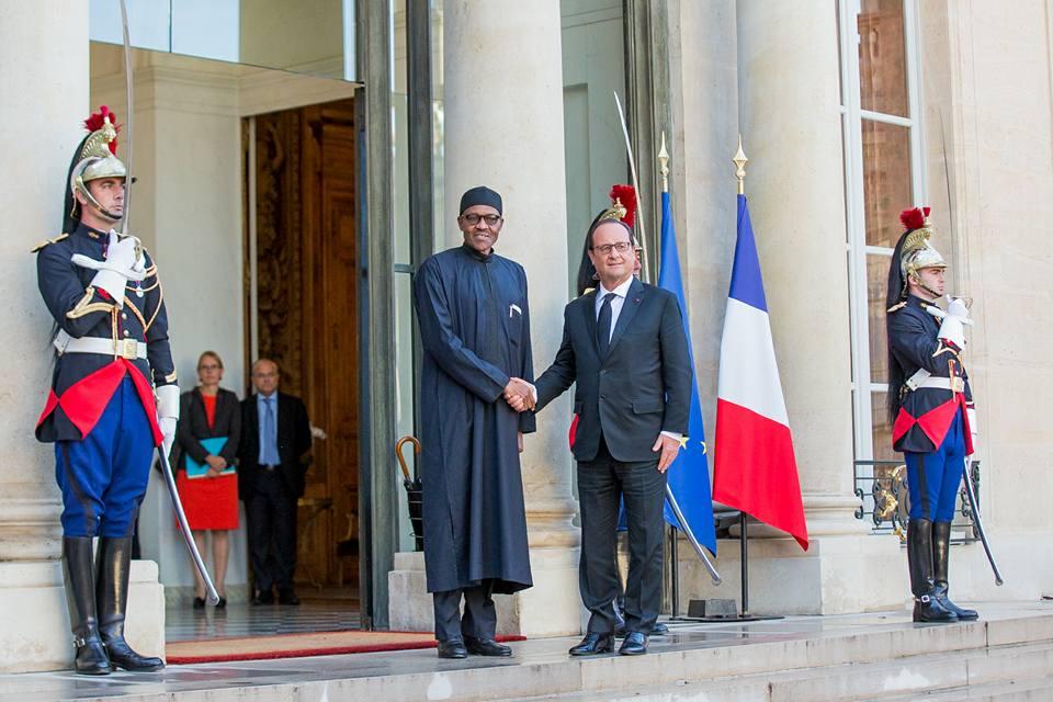 President Buhari meets President Francoise Hollande At Elysee