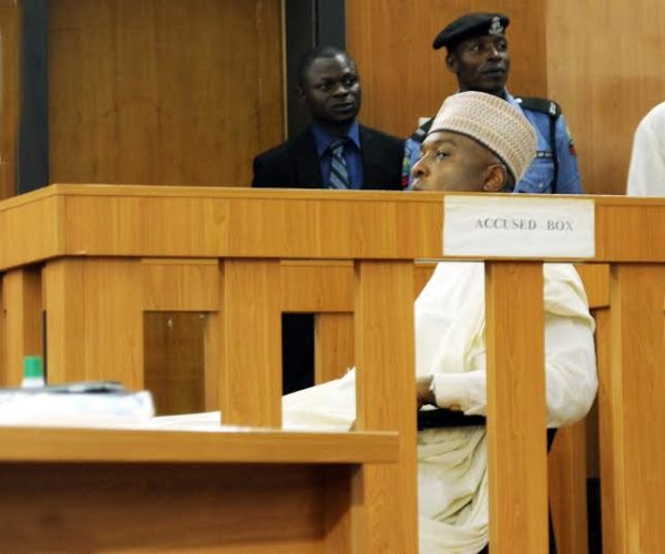 PIC. 4. SENATE PRESIDENT BUKOLA SARAKI AT THE CODE OF CONDUCT TRIBUNAL WHERE HE WENT TO TAKE  HIS PLEA IN THE 13-COUNT CHARGE SLAMMED ON HIM OVER ALLEGED FALSE DECLARATION OF HIS ASSETS, IN  ABUJA ON TUESDAY (22/9/15). 6772/22/9/2015/HF/CH/BJO/NAN