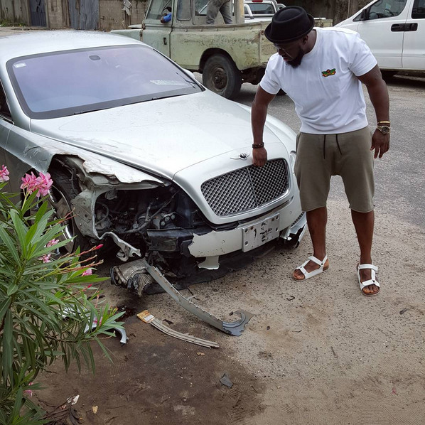 Timaya Escaped an Accident Yesterday that Left his Car