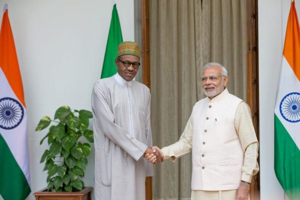 PIC. 26. PRESIDENT MUHAMMADU BUHARI (L), BEING RECEIVED BY THE INDIAN PRIME MINISTER, NARENDRA MODI, AT THE HYDERABAD HOUSE, DURING HIS OFFICIAL VISIT FOR THE 3RD INDIA-AFRICA FORUM SUMMIT, IN NEW DELHI, INDIA ON WEDNESDAY (28/10/15). 3892/28/10/2015/MO/ICE/BJO/NAN