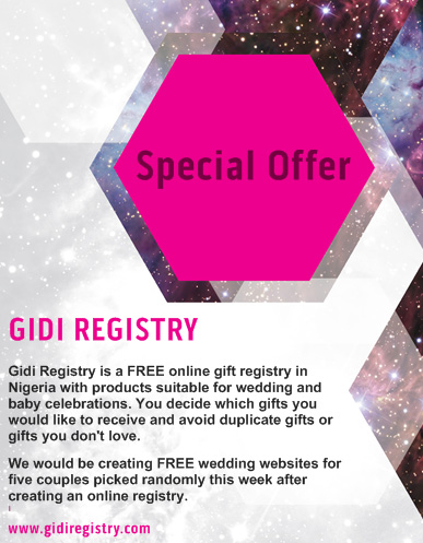 Create A Free Online Gift Registry For Your Wedding Gidi Registry