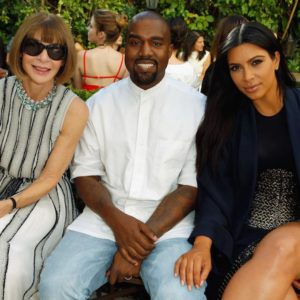 LOS ANGELES, CA - OCTOBER 20:  (L-R) Vogue Editor in Chief Anna Wintour, recording artist Kanye West and TV personality Kim Kardashian attend CFDA/Vogue Fashion Fund Show and Tea at Chateau Marmont on October 20, 2015 in Los Angeles, California.  (Photo by Jeff Vespa/Getty Images for CFDA/Vogue)