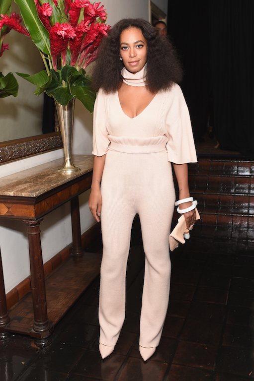 LOS ANGELES, CA - OCTOBER 20: Recording artist Solange Knowles attends CFDA/Vogue Fashion Fund Show and Tea at Chateau Marmont on October 20, 2015 in Los Angeles, California. (Photo by Stefanie Keenan/Getty Images for CFDA/Vogue)