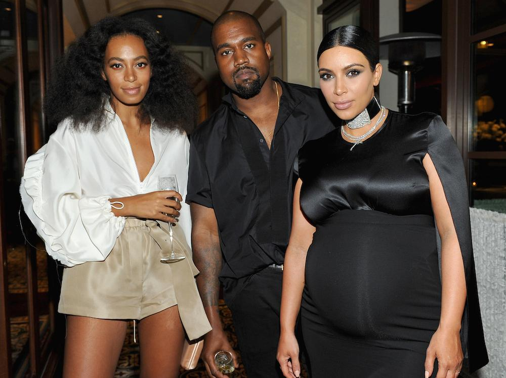 BEVERLY HILLS, CA - OCTOBER 20: (L-R) Recording artists Solange Knowles and Kanye West and tv personality Kim Kardashian attend the CFDA/Vogue Fashion Fund Dinner at Bouchon Beverly Hills on October 20, 2015 in Beverly Hills, California. (Photo by Donato Sardella/Getty Images for CFDA/Vogue)