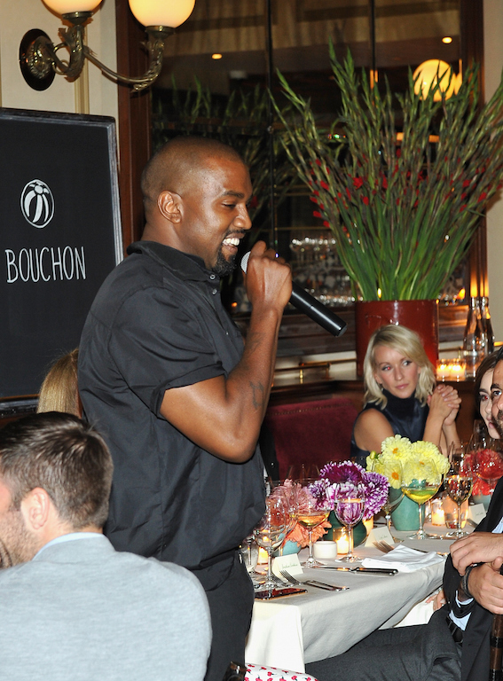 BEVERLY HILLS, CA - OCTOBER 20: Recording artist Kanye West speaks during the CFDA/Vogue Fashion Fund Dinner at Bouchon Beverly Hills on October 20, 2015 in Beverly Hills, California. (Photo by Donato Sardella/Getty Images for CFDA/Vogue)