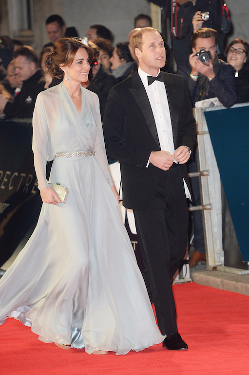 Prince William, Duke of Cambridge (R) and Catherine, Duchess of Cambridge attend the Royal World Premiere of 'Spectre' at Royal Albert Hall