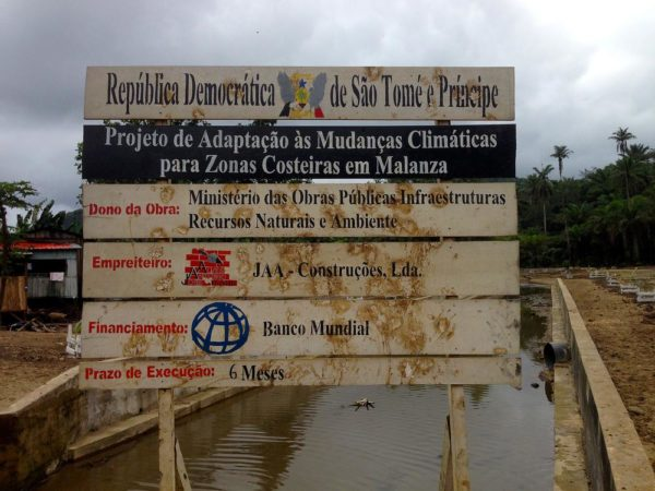 A board explaining the construction of a government-led mitigation strategy in the flood-prone Malanza region of São Tomé,